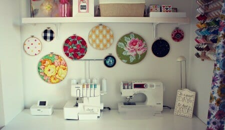 Pretty room for sewing on serger